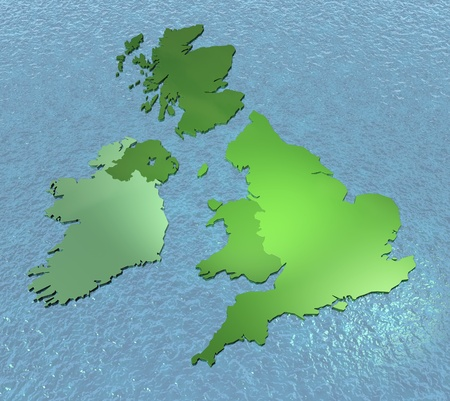 british isles: A 3D map of United Kingdom, Scotland detached