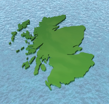 british isles: A 3D map of Scotland alone on the sea devolution