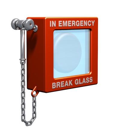 Fire alarm with hammer to break glass