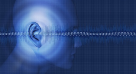 tympanic: Sounds good, hearing noises and vibrations Stock Photo