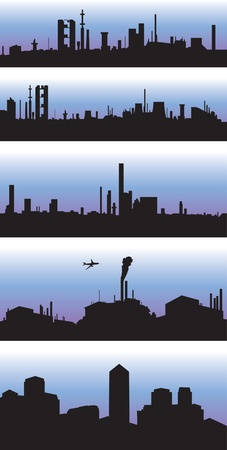 Factory and business skylines Vector