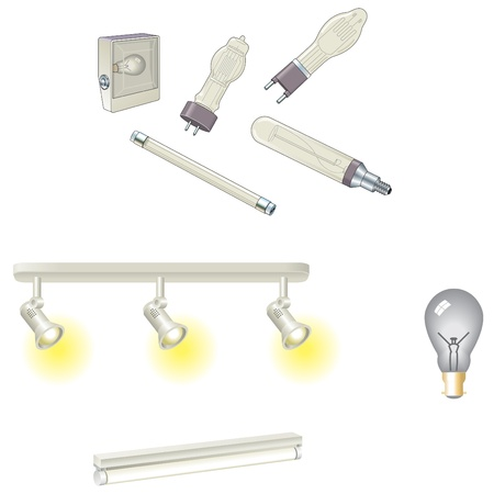 tungsten: Bulbs and tungsten and fluorescent lamps Illustration
