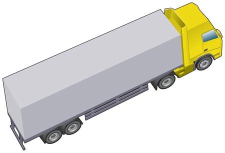 verhuis dozen: Langere vrachtwagencombinatie of truck Stock Illustratie