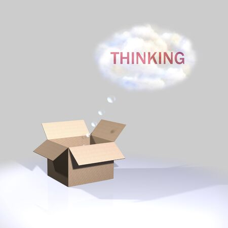Thinking outside the box, thinking photo