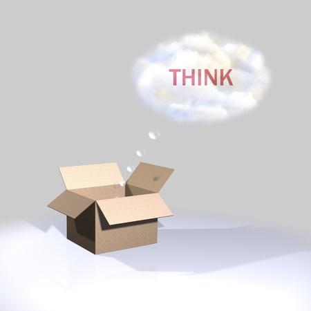 keynote: Pensar fuera de la caja, que Foto de archivo