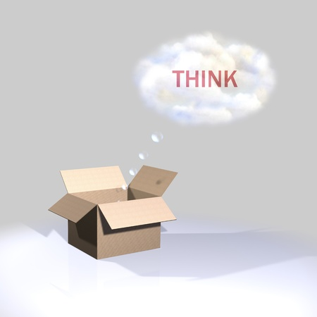 Thinking outside the box, think Stock Photo - 13282806