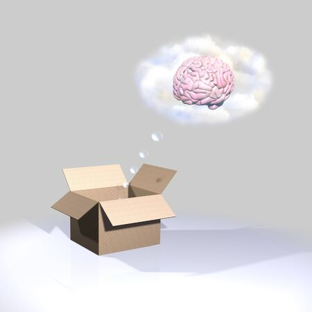 Thinking outside the box, brain photo