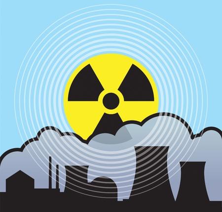 Le lever du soleil nucléaire, les fuites de rayonnement Vecteurs