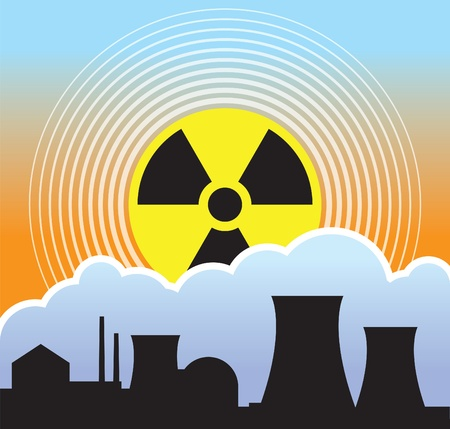 Nuclear sunset, radiation leaks Vector