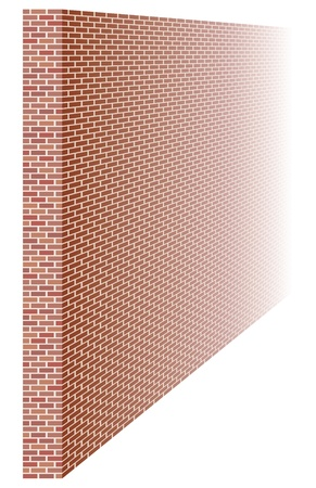 Brick wall in perspective, vanishing into distance Vector