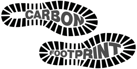 green footprint: Carbon footprints, footprints with words inside