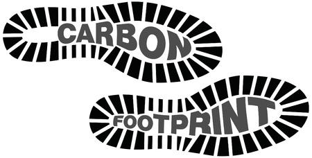 huellas pies: La huella de carbono, huellas con las palabras dentro de