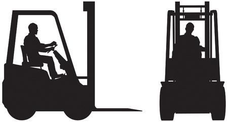 lift truck: Carretilla elevadora y el operador, la elevaci�n de la silueta Vectores