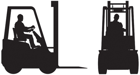 Forklift truck and operator, silhouette elevations Illustration