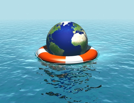 Rising sea levels, flooding, saving the planet Standard-Bild