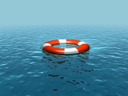 bail: Lifebelt, lifebuoy on the sea