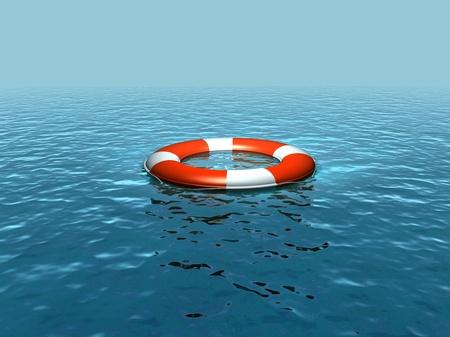 Lifebelt, lifebuoy on the sea
