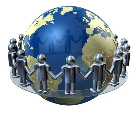 Hands around the world, peace, harmony, communication, business photo