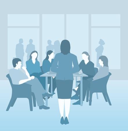 Reunión de negocios, grupo de estudio, universidad grupo, duotono