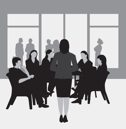 Business meeting, study group, college group, greyscale Vector