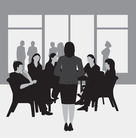 Reunión de negocios, grupo de estudio, universidad grupo, en escala de grises