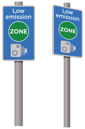 toxic emissions: Low emission zone sign, pollution Illustration