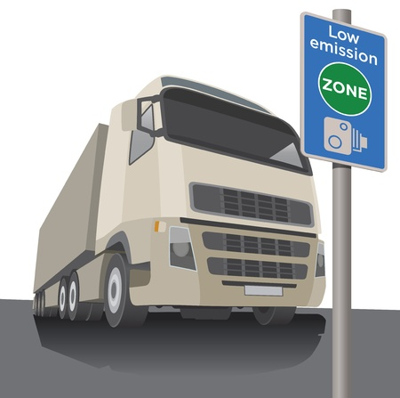 Low emission zone sign with lorry, pollution Vector