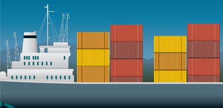 import trade: Imports and exports, container ship