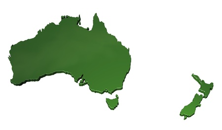 australasia: A 3D map of Australasia Stock Photo