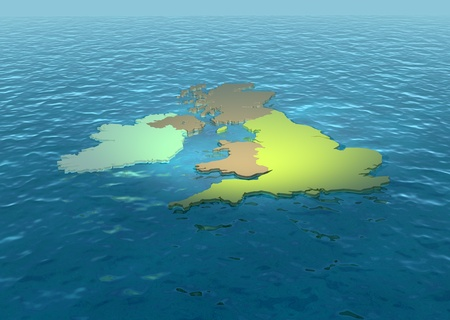 british isles: A 3D map of United Kingdom on the sea 2