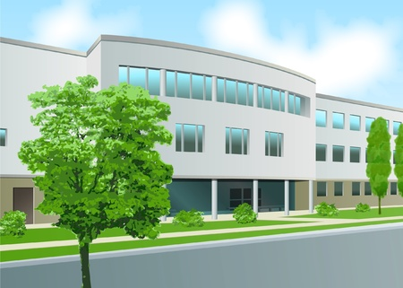 glass office: Curved office frontage, business centre