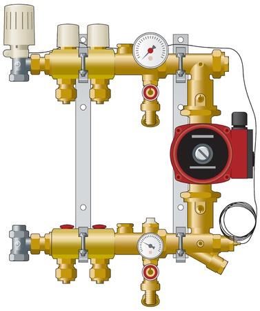 설치: 난방 매니 폴드 및 펌프 일러스트
