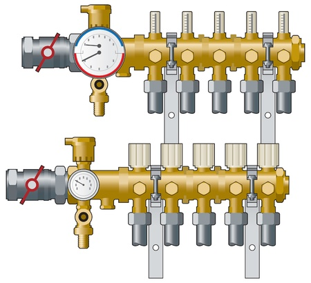 and heating: Heating manifolds and gauges Illustration