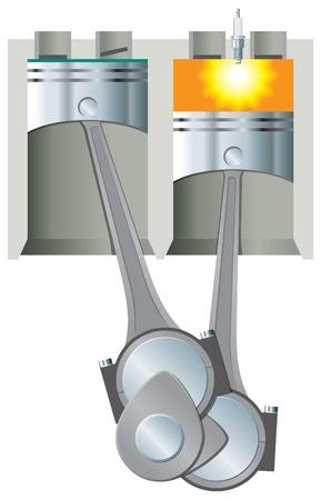 Zuigers en en ontsteking explosie