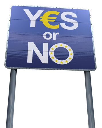 Yes or no to teh euro signpost Stock Photo - 13409797
