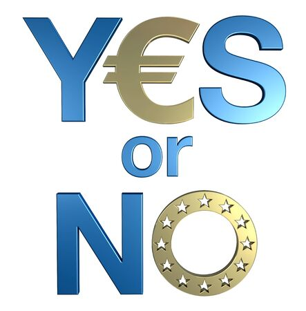yes or no to euro: Yes or no to euro 3 Stock Photo