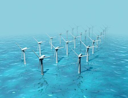 cgi: Wind turbine on the sea, CAD Stock Photo