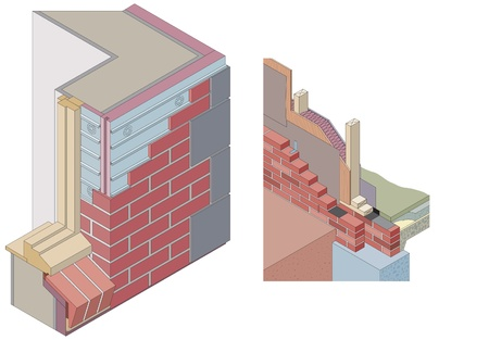 insulating: Isometric wall sections