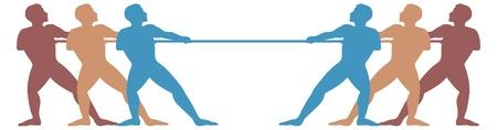 Touwtrekken, mannen in silhouet Vector Illustratie