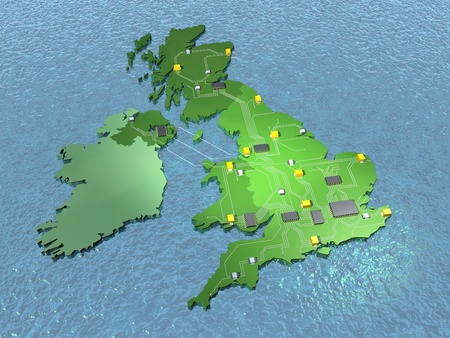 british isles: A 3D map of GB on sea showing UK electronics industry
