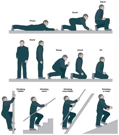 en cuclillas: Por accidentes del trabajo, la vista lateral varias poses Vectores