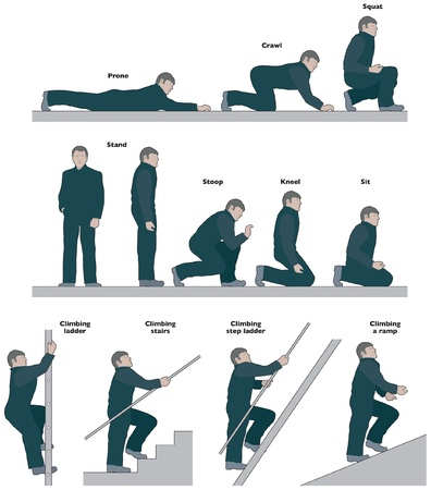 crawling: Workmen, various side view poses