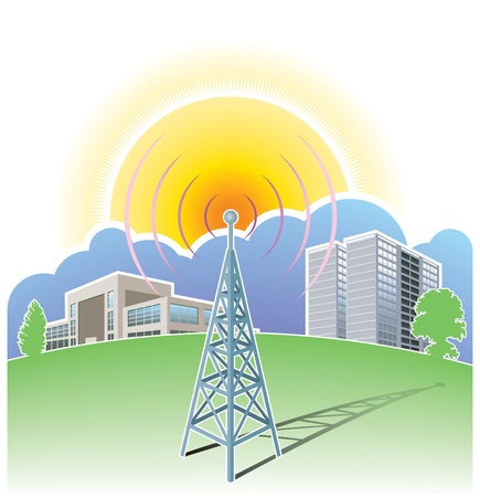 Wireless communications, radio mast Stock Vector - 13477202