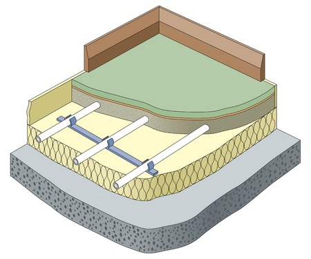 winter grilling: Underfloor heating isometric cut-away Illustration
