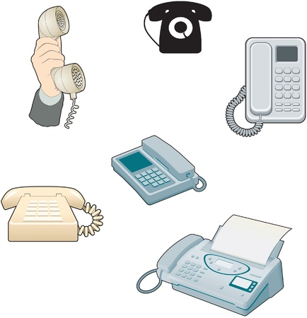 vintage telephone: Telephone, answer phone, old style and modern