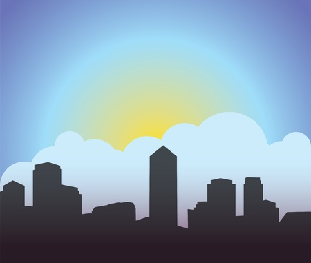 City sunrise, sunset Stock Vector - 13477125