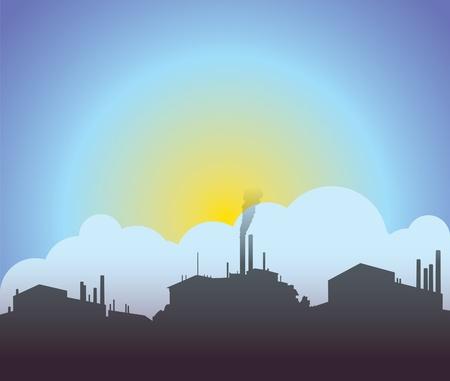 payable: Industrial salida del sol, puesta de sol Vectores