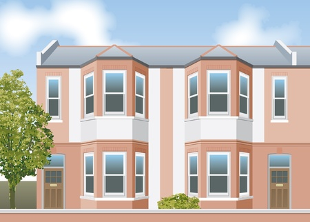 Victorian style terraced houses elevation Vector