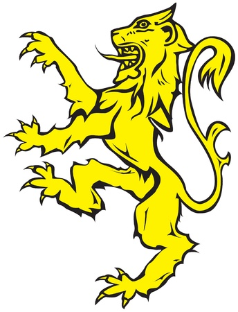 rampant: Rampant lion, heraldic device Illustration