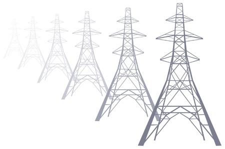 redes electricas: Power desapareciendo en la distancia torres de alta tensión